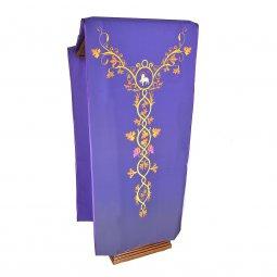 Copertina di 'Coprileggio viola con agnello ed uva stampati su croce ad Y'