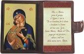 """Icona da viaggio in legno """"Madonna Tenerezza"""" con preghiera e custodia - cm 10x7"""