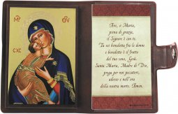 """Copertina di 'Icona da viaggio in legno """"Madonna Tenerezza"""" con preghiera e custodia - cm 10x7'"""