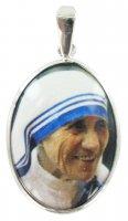 Medaglia Madre Teresa di Calcutta in argento 925 e porcellana - 3 cm
