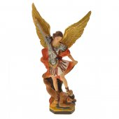 Statua San Michele in resina colorata - 30cm