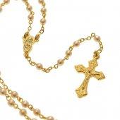 Rosario dorato con grani di perla bianca e piccolo astuccio trasparente