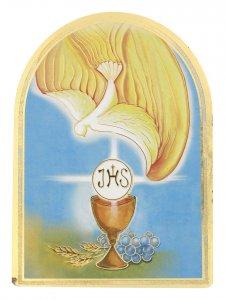 Copertina di 'Icona arcata per Comunione e Cresima in legno massello e lamina oro (cm 12 x 8,5 x 1,8)'