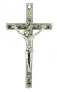 Copertina di 'Croce barretta con Cristo riportato in metallo nichelato - 4 cm'