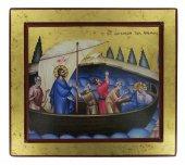 Icona Gesù e Discepoli - tempesta sedata, produzione greca su legno (29,5 x 26,5 cm)