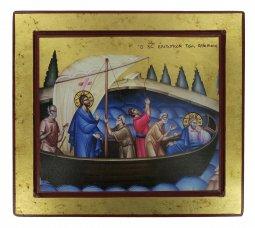 Copertina di 'Icona Gesù e Discepoli - tempesta sedata, produzione greca su legno (29,5 x 26,5 cm)'
