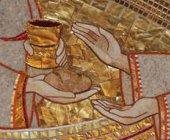 Immagine di 'STOCK: Quadro Pane e Vino stampa su legno - 10 x 15 cm'