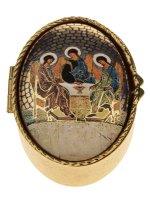 """Portarosario ovale in metallo """"Trinità"""" di Rublëv - dimensioni 6x4 cm"""
