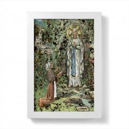 """Copertina di 'Quadretto """"Madonna di Lourdes"""" con lamina oro e cornice minimal - dimensioni 15x10 cm'"""