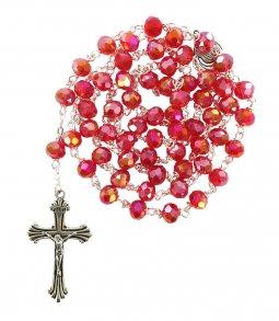 Copertina di 'Rosario cristallo sfaccettato con grani mm 6 colore rosso legatura in metallo'