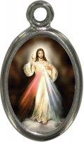 Medaglia Gesù Misericordioso in metallo nichelato e resina - 2,5 cm