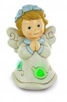 Angelo che prega con luce LED, orli e fiori azzurri, in resina, 15 cm