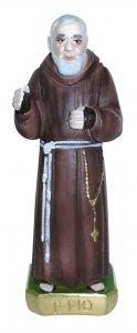 Copertina di 'Statua San Pio in gesso madreperlato dipinta a mano - 20 cm'