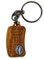 Portachiavi in  legno d'ulivo Ave Maria e medaglia Madonna Miracolosa