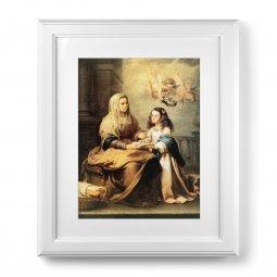 """Copertina di 'Quadro """"Sant'Anna"""" di Murillo con passe-partout e cornice decorata a sbalzo'"""