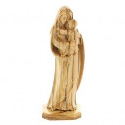 """Copertina di 'Statuetta in legno d'ulivo con base """"Madonna col bambino"""" - altezza 11 cm'"""