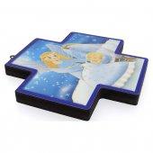 """Immagine di 'Croce in legno con lamina oro """"Angelo custode"""" per bambini - dimensioni 12x12 cm'"""