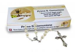 Copertina di 'Bomboniera comunione bambina/bambino: Rosario comunione con scatolina italiano'
