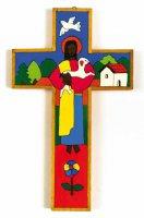 """Croce in legno """"Il buon pastore"""" - altezza 15 cm"""