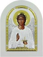 Icona Arcangelo Greca a forma di arco con lastra in argento - 15 x 20 cm
