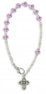 Copertina di 'Braccialetto-rosario con 11 grani di colore rosa e croce'