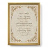 """Quadro con preghiera """"Fuoco d'Amore"""" su cornice dorata - dimensioni 44x34 cm - S. Caterina da Siena"""