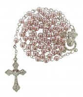 Rosario imitazione perla vetro Ø 4 mm rosa