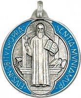 Medaglia San Benedetto tonda in metallo argentato con smalto - 3 cm