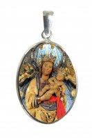 Medaglia ovale con profilo in argento e interno in porcellana con misura 2,6x2 cm - Madonna di Almudena