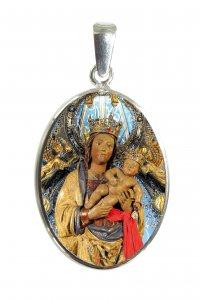Copertina di 'Medaglia ovale con profilo in argento e interno in porcellana con misura 2,6x2 cm - Madonna di Almudena'