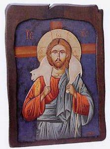 """Copertina di 'Icona in legno dipinta a mano """"Gesù buon pastore"""" - dimensioni 48x34 cm'"""