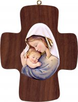 Croce con Madonna bianco-azzurro - Demetz - Deur - Statua in legno dipinta a mano. Altezza pari a 16 cm.