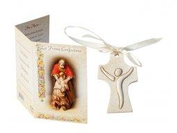 """Copertina di 'Crocetta ad effetto pietra con cartoncino-ricordo """"Prima Confessione"""" - dimensioni  6,5x4 cm'"""