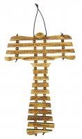 Croce Tau da parete in ulivo cm 17 con preghiera Padre Nostro in catalano