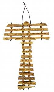Copertina di 'Croce Tau da parete in ulivo cm 17 con preghiera Padre Nostro in catalano'