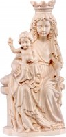 Statua della Madonna di Praga in legno naturale, linea da 25 cm, Madonne Gotiche - Demetz Deur
