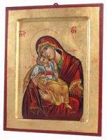 """Icona in legno e foglia oro """"Madonna del dolce amore dal manto rosso"""" - dimensioni 23x18 cm"""