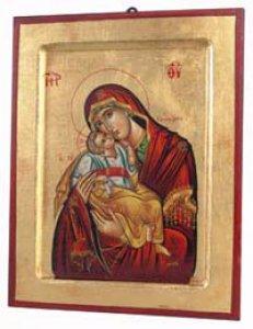 """Copertina di 'Icona in legno e foglia oro """"Madonna del dolce amore dal manto rosso"""" - dimensioni 23x18 cm'"""