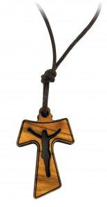 Copertina di 'Croce Tau in legno di ulivo con Cristo traforato (croce di San Francesco d'Assisi) - 3 cm'