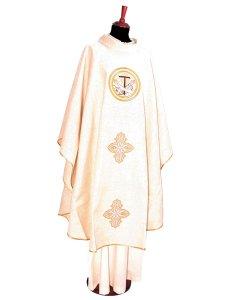 Copertina di 'Casula francescana avorio in canapa e lino con tau ricamato'