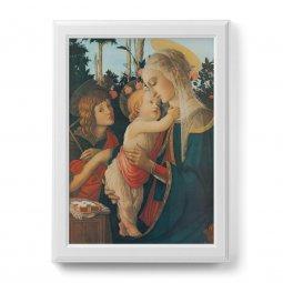 """Copertina di 'Quadro """"Madonna col bambino e San Giovannino"""" con cornice decorata a sbalzo - dimensioni 78x58 cm'"""