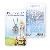 """Medaglia """"Centenario di Fatima"""" con laccio azzurro e preghiera giubilare di consacrazione"""