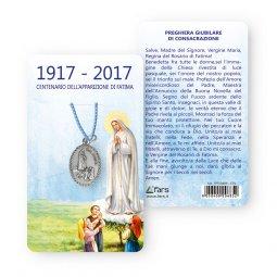 """Copertina di 'Medaglia """"Centenario di Fatima"""" con laccio azzurro e preghiera giubilare di consacrazione'"""