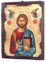 """Icona in legno dipinta a mano """"Gesù Cristo datore di vita""""- dimensioni 21x16 cm"""