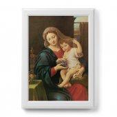 """Quadro """"Madonna del grappolo"""" con cornice decorata a sbalzo - dimensioni 50x70 cm - Pierre Mignard"""