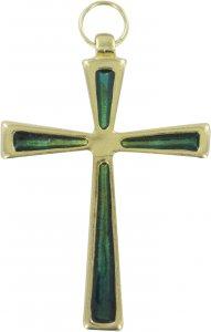 Copertina di 'Croce in metallo dorato con smalto verde - 7 cm'