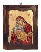 """Icona in legno e foglia oro """"Madonna dolce amore dal manto rosso"""" - 18,5 x 23,5 cm"""