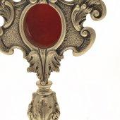 Immagine di 'Reliquiario argentato e antichizzato con decori - altezza 27 cm'