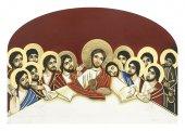 """Icona a cupola in legno massello """"Ultima cena"""" su sfondo rosso - dimensioni 12x8 cm"""