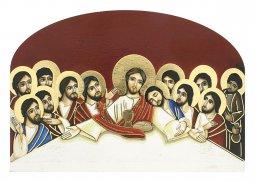 """Copertina di 'Icona in legno massello """"Ultima cena"""" su sfondo rosso (cm 12 x 8 x 2)'"""